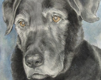 """8"""" x 10"""" Custom pet portrait painting of dog, cat, horse, in watercolor commissioned from your photo"""
