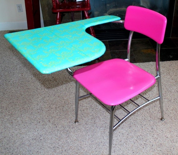 Hot Pink & Turquoise Refurbished Old School DesK Chair ShabbY Chic  FREE SHIPPING in USA on GreY HounD Bus
