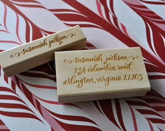 Custom Calligraphy Return Address and Stationery Stamp Set - Jackson Lettering Style