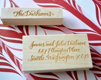 Custom Calligraphy Return Address and Stationery Stamp Set - Durham Lettering Style