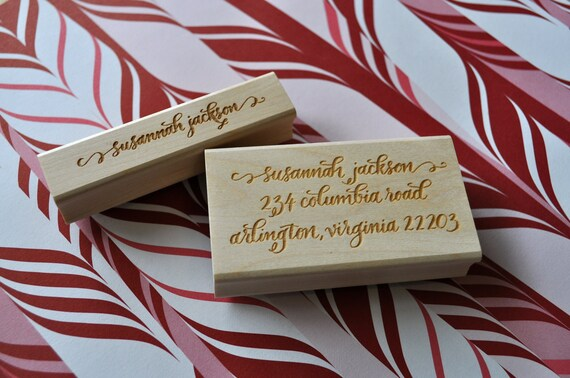 Custom Calligraphy Return Address and Stationery Stamp Set - Jackson Lettering Style