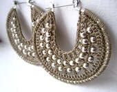 Stone grey and silver Crocheted hoops with beads