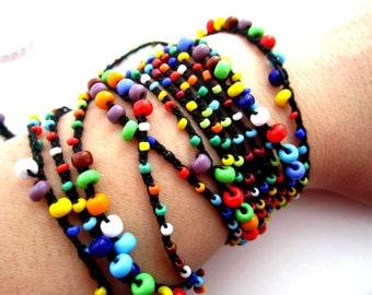 Multicolour Bohemian Beaded crocheted necklace/bracelet/belt