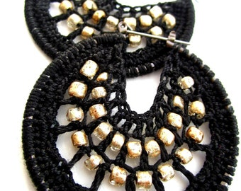 Crocheted hoops with beads in black and gold, Bohemian jewelry, Boho