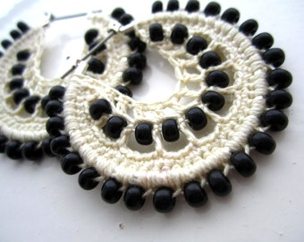 Crocheted hoops and black beads