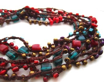 Beaded crocheted necklace/bracelet/belt