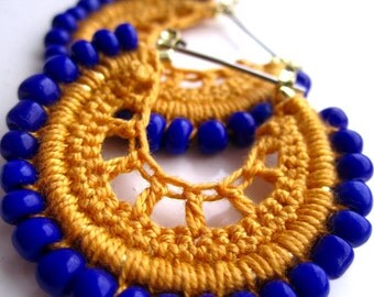 Crocheted hoops in yellow and blue beads