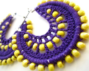 Crocheted hoops and yellow beads