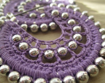Crocheted hoops in Lilac and Silver