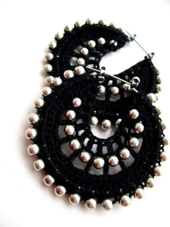 Crocheted hoops in black and silver beads