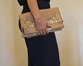 studs burlap clutch or a purse