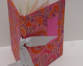 Pink paisley handbound book of handmade paper - papermaker