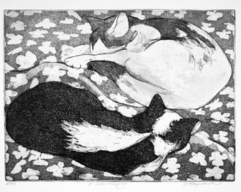 Original Fine Art Etching, 2 cats sleeping