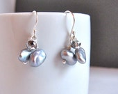 Dainty Cluster Pearl Earrings - Sterling Silver and Gray Freshwater Pearl Dangle Earrings with Dainty Crystal Accent