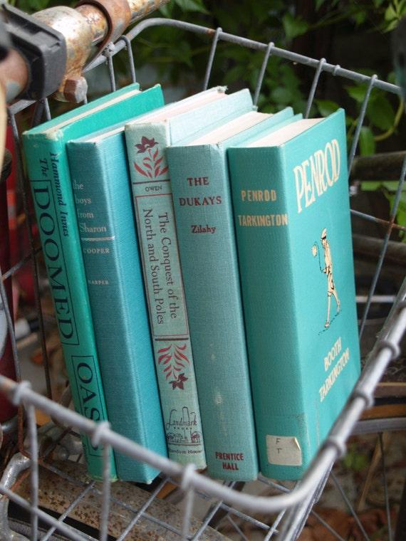vintage books - aqua stack