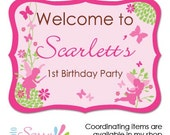 Printable fairy birthday party welcome sign, personalzied