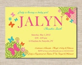 Butterfly baby shower invitation featuring baby name. printable baby shower invitations