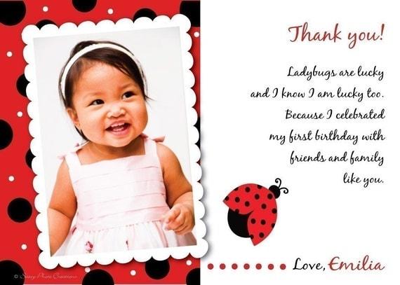 ladybug thank you cards printable photo cards polka dots, Birthday card