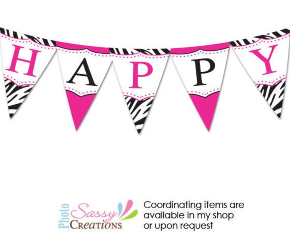 zebra print birthday banner Personalized printable birthday