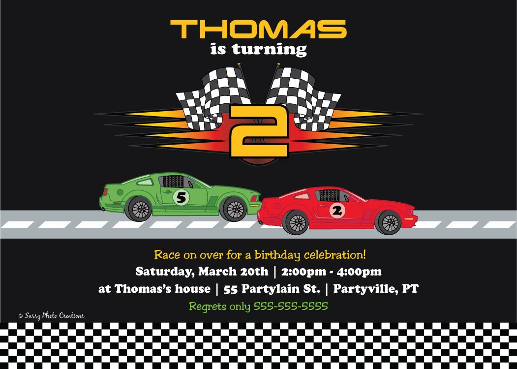 Cars Invitation Card Template Free: Race Car Birthday Invitation Printable Birthday Invitations