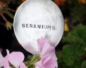 Vintage Silverware Garden Marker Geraniums silver plated flatware Garden Marker flower markers