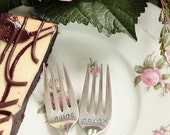 Bride and Groom forks  silver plated wedding cake forks hand stamped silverware Jubilee 1953