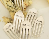 Cheese Marker Set of 6 recycled silver plated silverware  fork tines rustic vineyard style, for the gourmet, hostess, housewarming