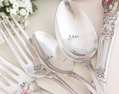 Mr. Mrs. Wedding Forks Place Settings 10 Piece Set Hand Stamped Heritage 1953 Ornate