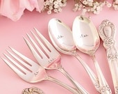 Wedding Silverware 6 Piece Set Reception Place Setting hand stamped silver plate  Heritage 1953  OOAK