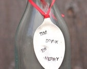 Eat Drink Be Merry Wine Bottle Tag Eat Drink Be Merry Christmas Ornament Vintage Silverware