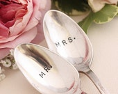 Antique Silverware Mr. and Mrs. spoons silver plated silverware  Mr. Mrs. coffee spoons Jamestown 1916