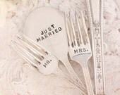 Mr. and Mrs. Forks with Just Married Cake Topper: Hand Stamped Wedding Silverware 5 piece set. Chalfonte 1926.