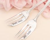 My Cake Your Cake Wedding Forks: Hand Stamped Wedding Silverware