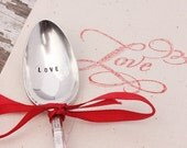 Valentine Love Spoon. Hand Stamped Vintage Spoon and Cotton Muslin Bag.