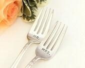 Mr. Mrs. Forks 1938 Danish Princess Hand Stamped Vintage Flatware. Wedding Cake Forks.
