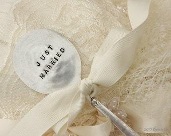 Just Married Vintage Silverware Garden Wedding Cake Topper