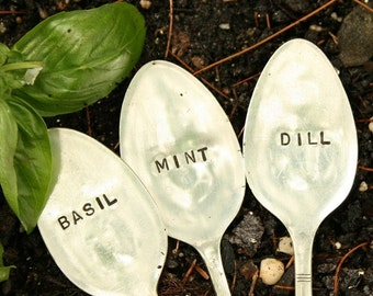 Silverware Garden Markers  Set of 3  Herb Markers,  Basil Mint Dill recycled  flatware, Eco-friendly, Earth Day gardening spoon