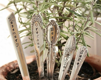 Herb Garden Stakes  Set of 5 seedling markers vintage silver plated silverware by beachhouseliving etsy