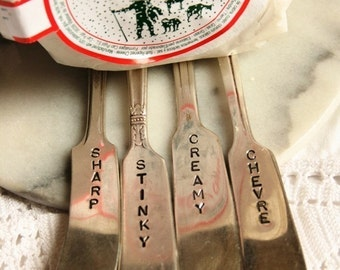 Vintage Hand Stamped Cheese Marker Set Cheese Spreaders Recycled silver plated flatware silverware stocking stuffers