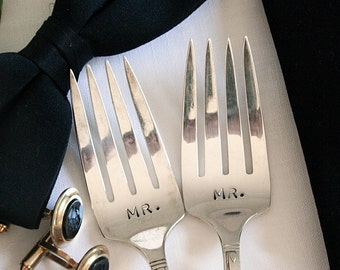 Rainbow Wedding Silverware Mr and Mr  Hand Stamped Dessert Forks