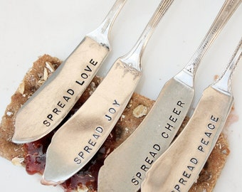 Hand stamped cheese or jam spreaders spread love joy peace cheer recycled vintage silver plated flatware silverware