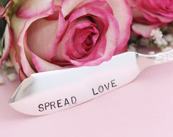 Spread Love Butter Knife Jelly Spreader. Hand Stamped  Silver Plate Silverware floral fluted handle