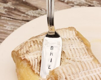 Brie Cheese Marker Hand stamped silverware silver plate. Upcycled.