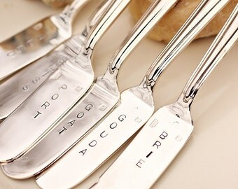 Cheese Markers Set of 6 Euro Style, Hand Stamped Silverware, Silver Plate, Entertaining, Tableware.