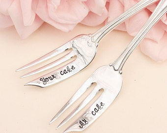 My Cake Your Cake Wedding Forks: Hand Stamped Wedding Silverware