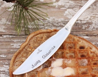 Butter Spreader Merry Christmas Cheese Knife Hand Stamped Silverware Gifts under 25 - Ready to Ship Gifts