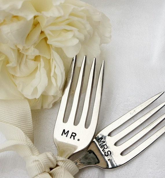 Vintage Silverware garden markers Mr. and Mrs. wedding cake topper silver plated flatware