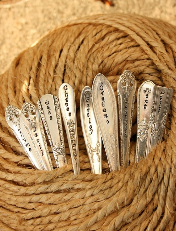 Silverware Garden Stakes Herbs Set of 9 vintage silver plated flatware seedling stakes by beachhouseliving etsy