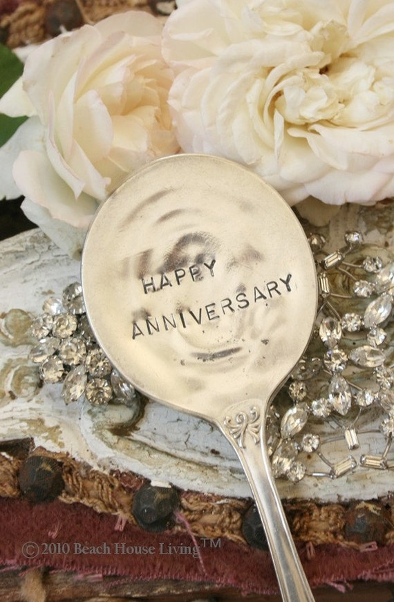 Happy Anniversary   Vintage Silverware Garden  Marker cake topper sign recycled silver plated flatware garden markers