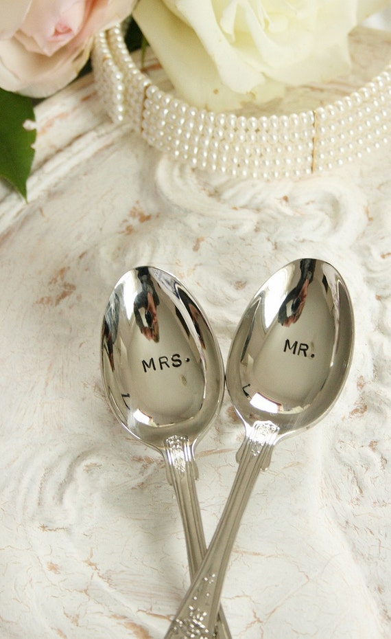 Mr Mrs spoon set upcycled flatware  beach wedding - shell pattern by beachhouseliving  on etsy